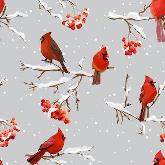 Зимние птицы с ягодами рябины ретро-фон