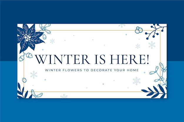 Winter blog header template illustrated