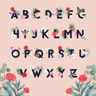 Winter bloom alphabet with flower, foliages