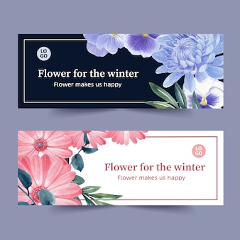 Winter bloom banner with gerbera, orchid, chrysanthemum