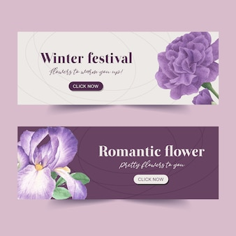 Winter bloom banner with peony, cattleya flower