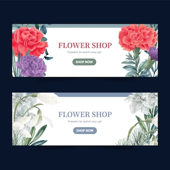 Winter bloom banner with peony, galanthus