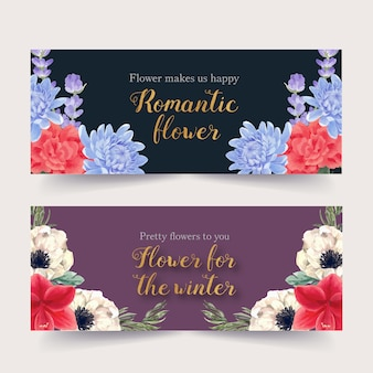 Winter bloom banner with peony, lavender, lilies