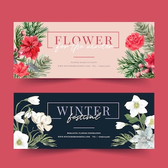 Winter bloom banner with poinsettia, galanthus