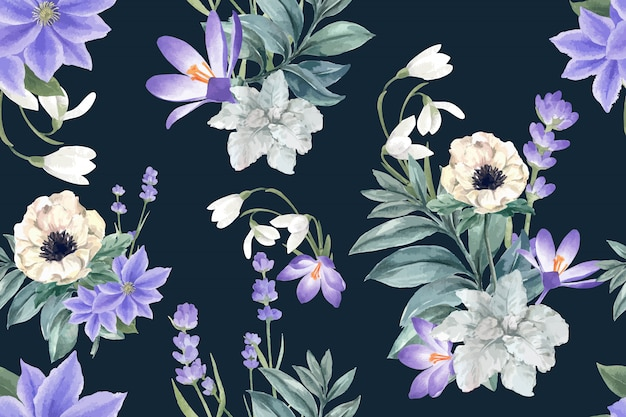 Winter bloom pattern with crocus, lavender, anemone