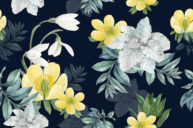 Winter bloom pattern with galanthus, anemone