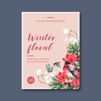 Winter bloom poster with bird, floral, foliages