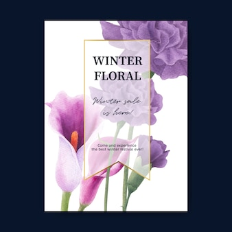 Winter bloom poster with peony, calla lilies