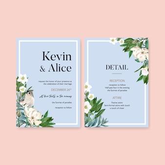 Winter bloom wedding card with bird, flower