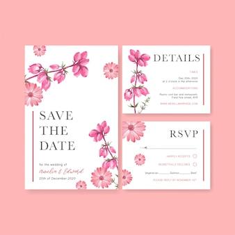 Winter bloom wedding card with gerbera