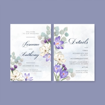 Winter bloom wedding card with lilies, crocus