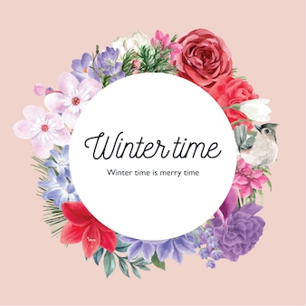Winter bloom wreath with various florals