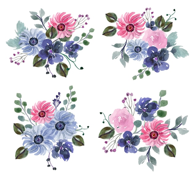 Winter blue and pink floral themed watercolor arrangement vector set