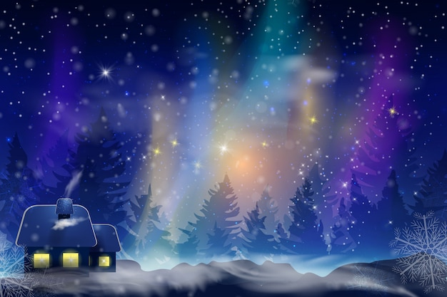 Winter blue sky with falling snow, snowflakes with a winter landscape with a full moon.  festive winter background for christmas and new year.