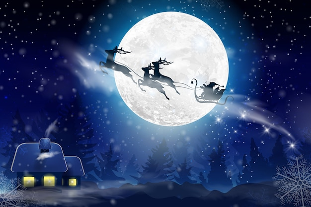 Winter blue sky with falling snow, snowflakes with a winter landscape with a full moon. santa claus flying on a sleigh with a deer. festive winter background for christmas and new year.