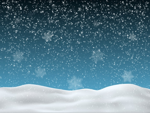 Winter blue sky with falling snow
