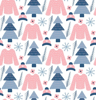 流行に敏感なスタイルの冬の自由奔放に生きるシームレスなパターン。テクスチャ、背景を繰り返すクリスマスツリー。ベクトルイラスト。