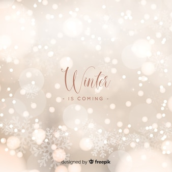 Winter bokeh lights background