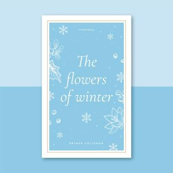 Modello di copertina del libro invernale illustrato