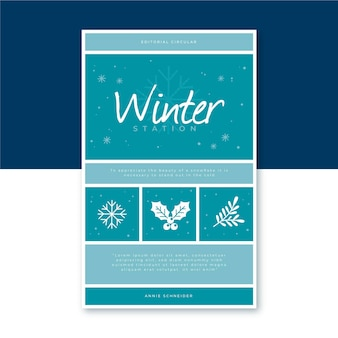 Winter book cover template with snowflakes