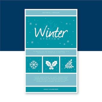 Modello di copertina del libro invernale con fiocchi di neve
