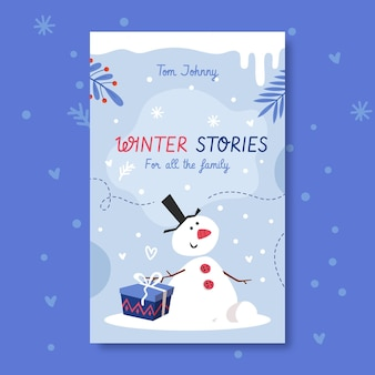 冬の本の表紙のテンプレート
