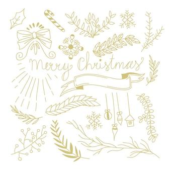 モノクロスタイルの図で木の枝の弓キャンディーおもちゃリボンと冬の植物のお祭りの手描きの概念