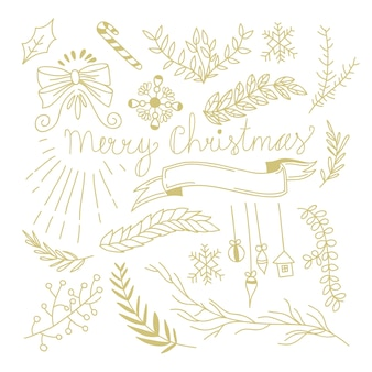 Winter botanical festive hand drawn concept with tree branches bow candy toys ribbon in monochrome style illustration