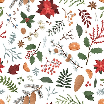 Winter botanical seamless pattern