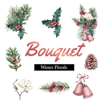 Winter bouquet for decor border frame decoration beautiful