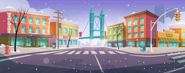 Зимний бруклинский перекресток и мост с видом на город