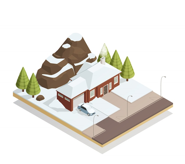 Winter bungalow landscape isometric