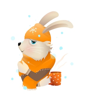 ニット帽とスカーフを身に着けている熱いお茶を飲む冬のウサギまたはウサギ。子供のための冬の服のイラスト、水彩風の漫画のロマンチックなかわいい動物。