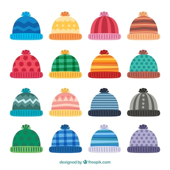 Winter cap collection of 16