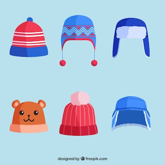 Winter cap collection of six