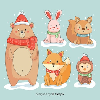 Winter cartoon animals collection