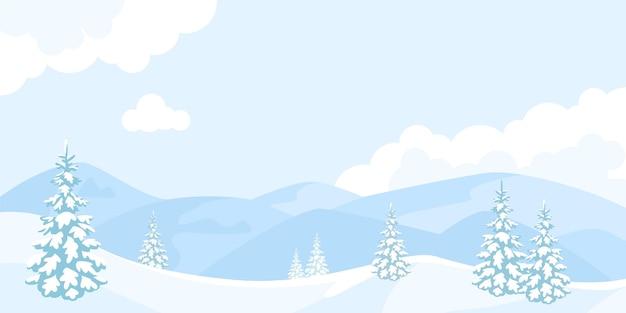 눈 덮인 산과 전나무가 있는 겨울 만화 풍경