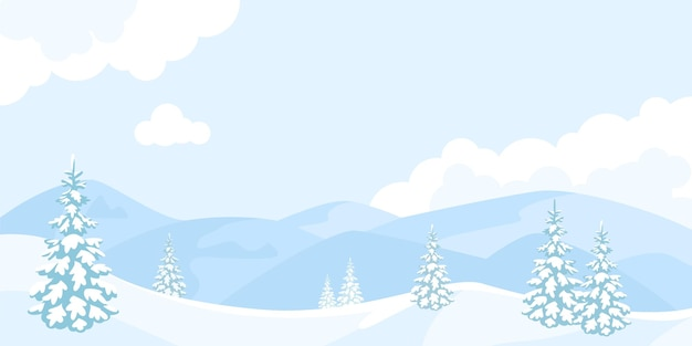 Winter cartoon landscape with snowy mountains and fir trees