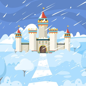 Winter castle. fairytale frozen building kingdom medieval snow magic landscape background