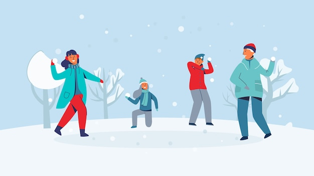 Winter characters playing snowballs. joyfull people having fun in snow. boys and girls throwing snowball.