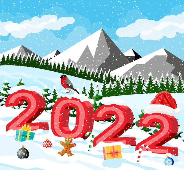 Winter christmas background. pine tree wood and snow. winter landscape with fir trees forest, mountain and snowing. happy new year celebration. new year xmas holiday. vector illustration flat style