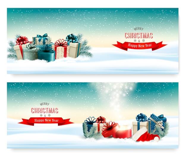 화려한 선물 벡터와 겨울 크리스마스 배경