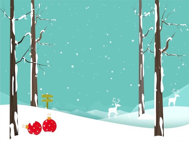 Зимняя рождественская открытка с оленями и рождественские шары.