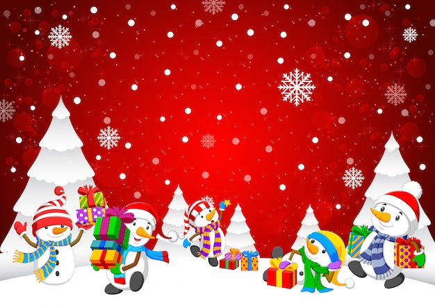 Зимний новогодний фон со снеговиком и подарочными коробками