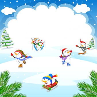 Winter christmas background with snowman playing ice skates, skiing, sleigh ride