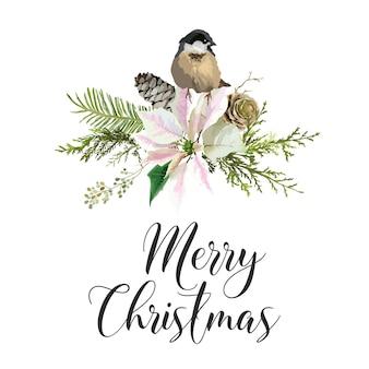 Winter christmas birds greeting card