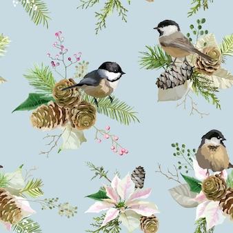 Winter christmas birds seamless background