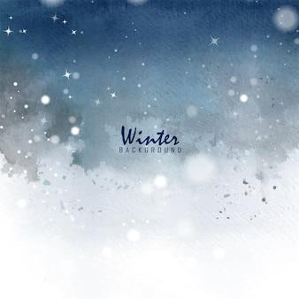 冬のクリスマスカード手描きのステイン水彩画。冬に落ちるボケ、星、雪で飾られたアートの背景。
