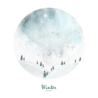 冬のクリスマスカードの手描きの水彩画。アートワークの雪片とスプラッタステイン水彩背景に降る雪。