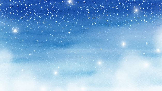 Winter christmas card shades of blue watercolor stains. horizontal artwork of snow falling and sparkle stars on stains texture watercolor background.